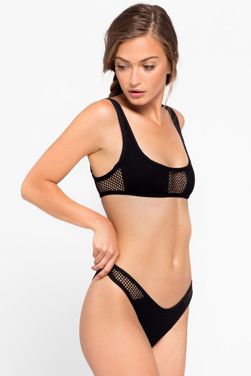Stevie Mesh High Cut Bikini Bottom - Black