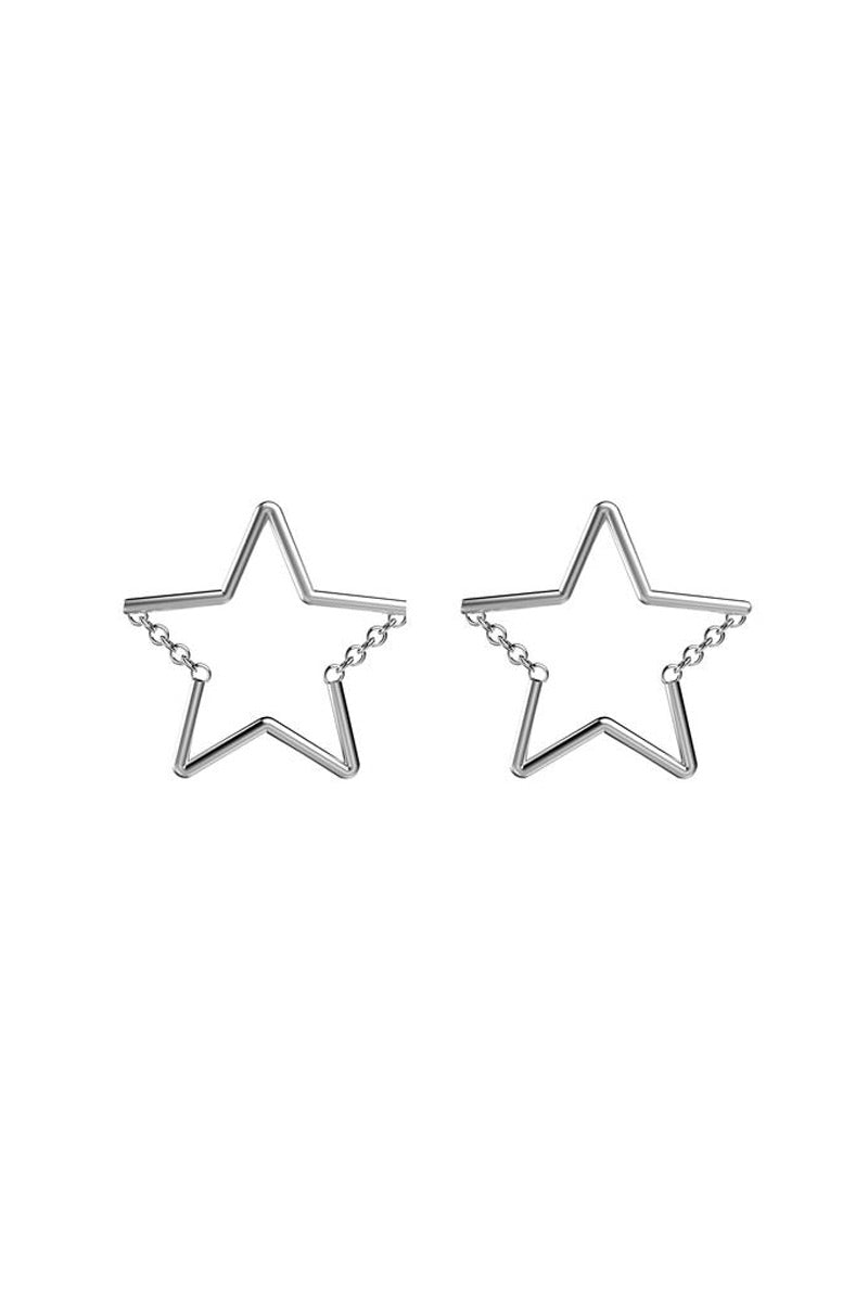 Star Chain Stud Earrings - Silver