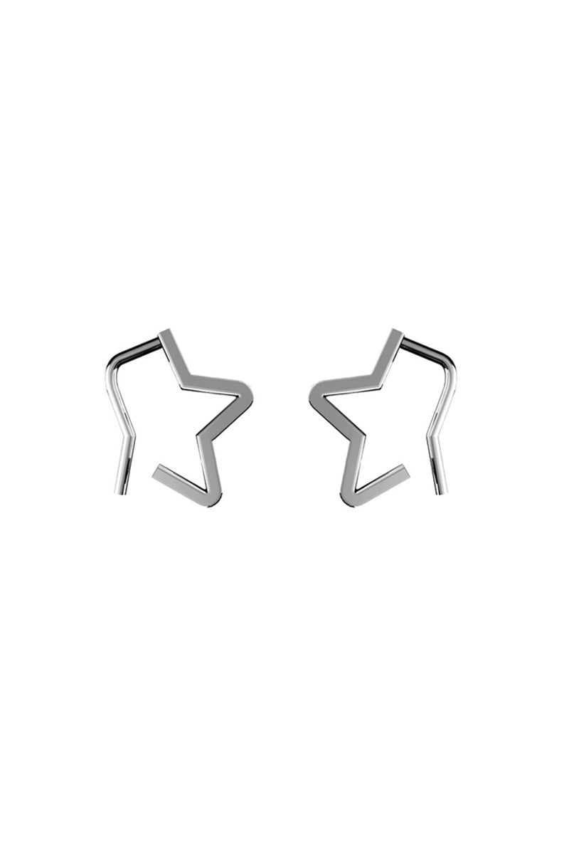 Star Hook Earrings - Silver