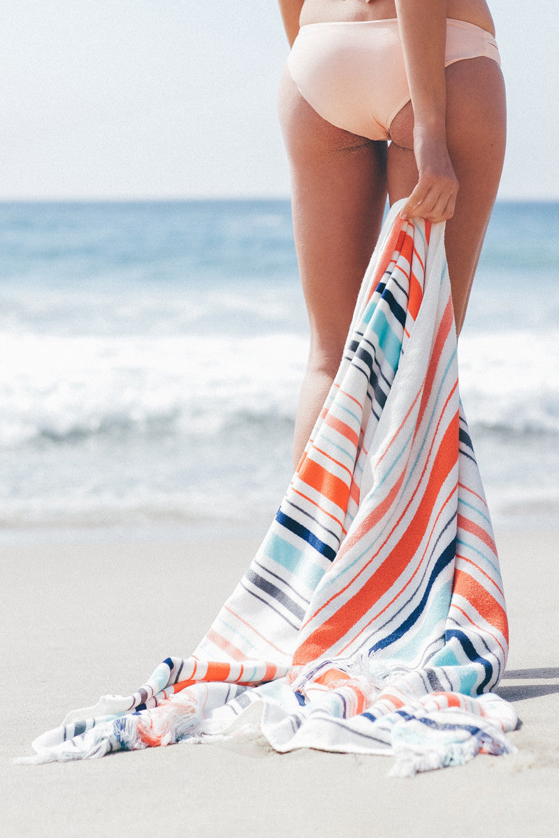 RUBY MINT Waterford Towel Accessories | Orange/White Stripe|