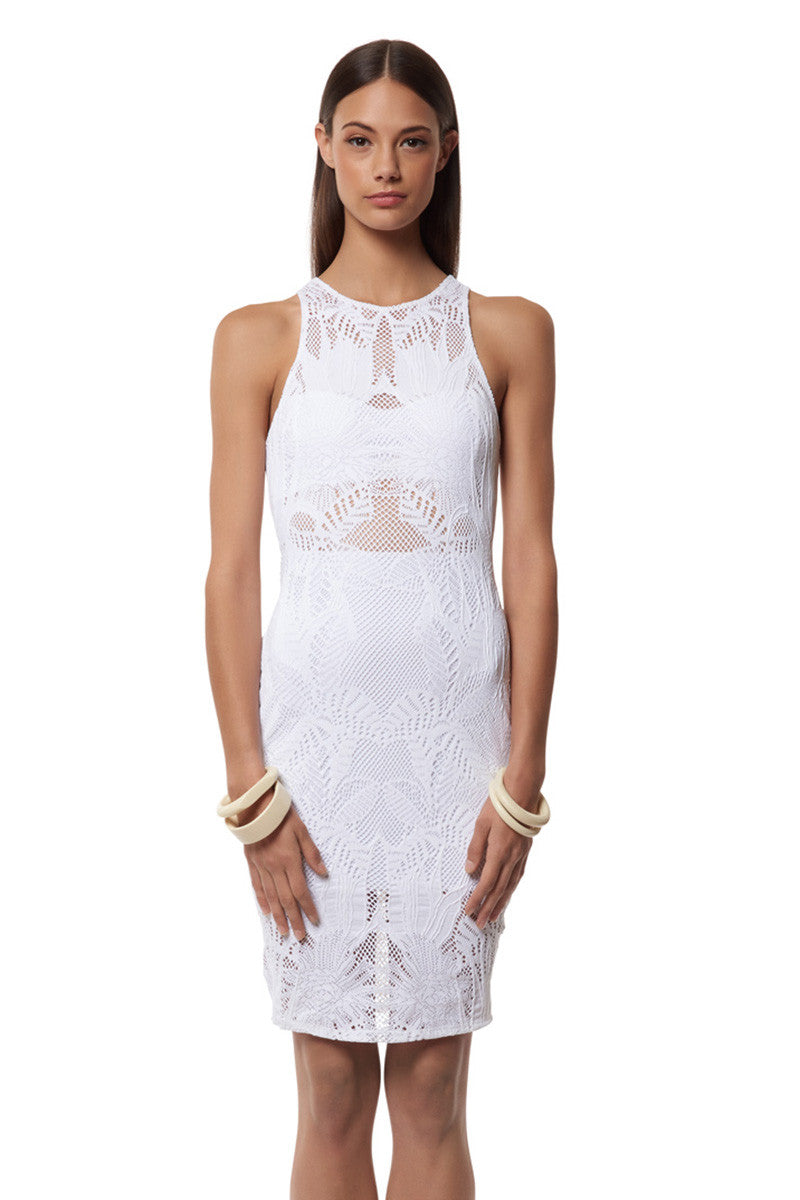 MARA HOFFMAN Fitted Midi Dress Cover Up | White Floral Jacquard|