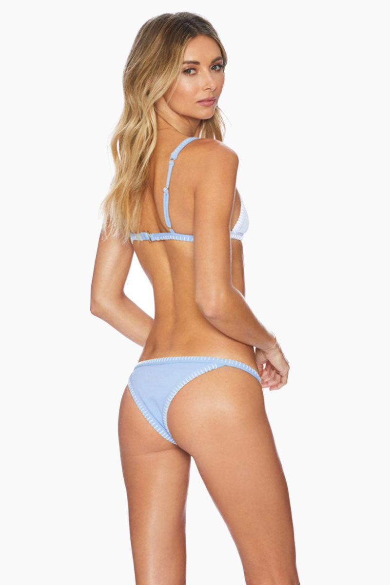 Talita Fitted Brazilian Bikini Bottom - Blue Texture