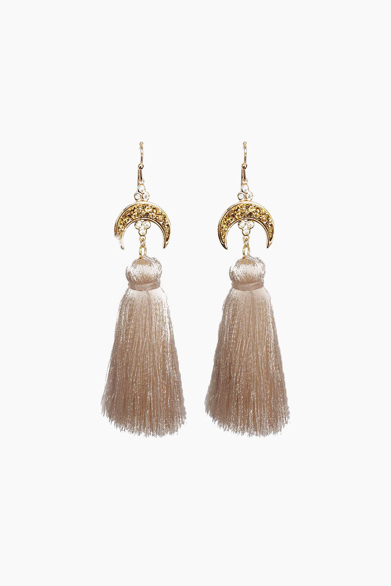 Titania Druzy Tassel Earrings - Taupe
