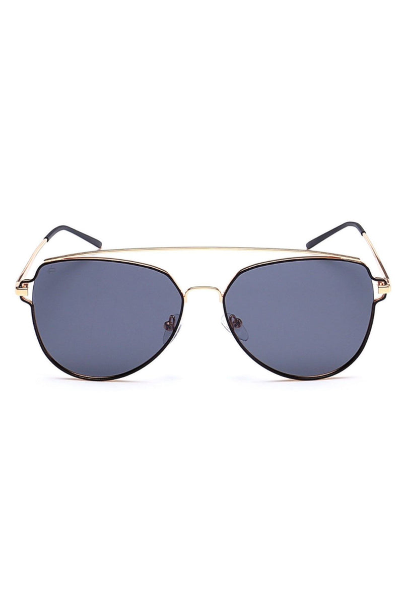 The Celebrity Unisex Oversized Aviator Sunglasses - Black/Gold