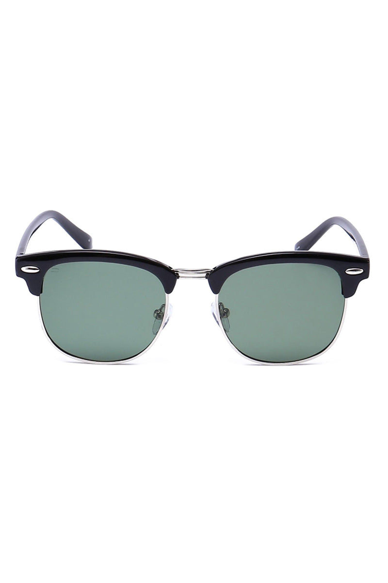 The Chairman Unisex Square Polarized Sunglasses - Dark Black
