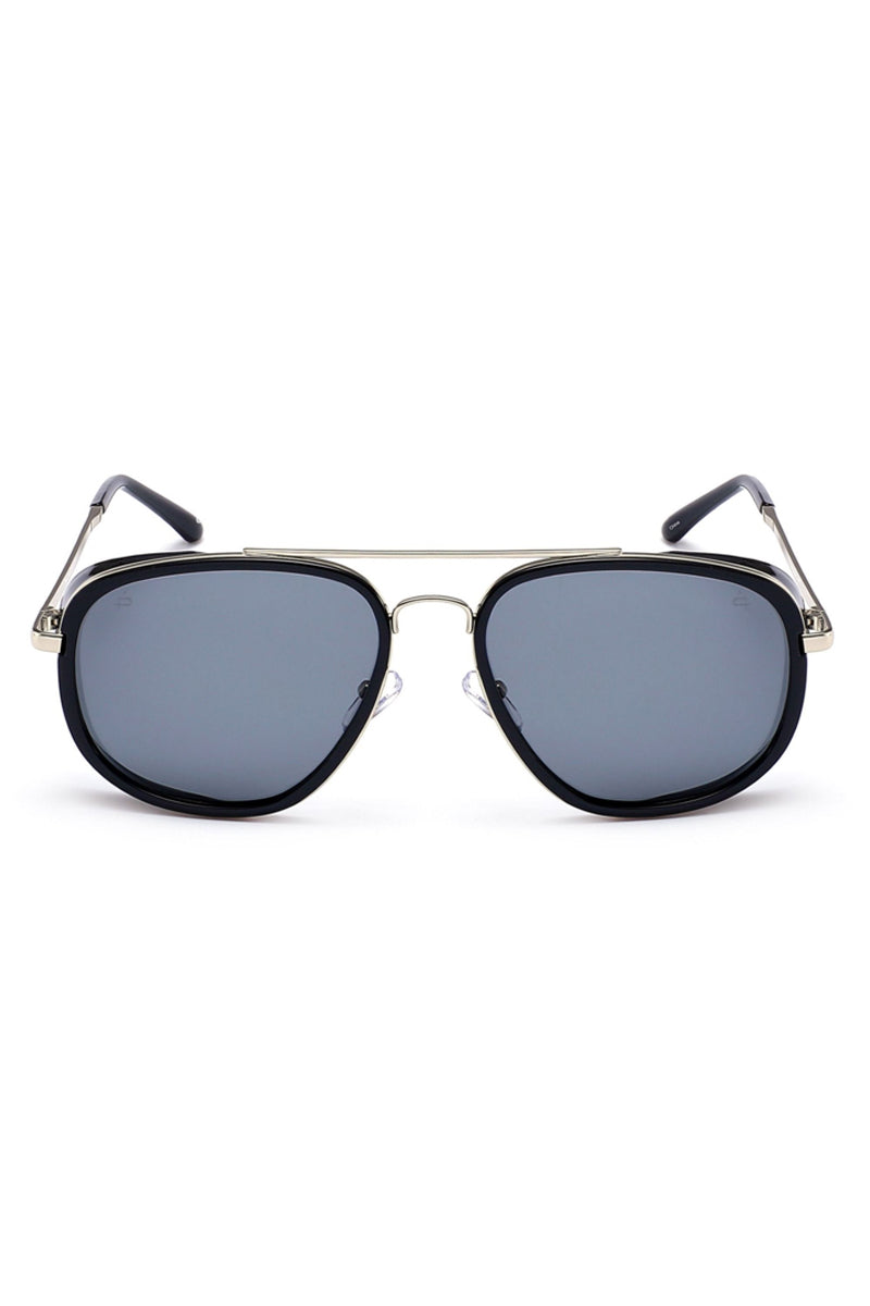 The Explorer Unisex Square Aviator Sunglasses - Black/Black
