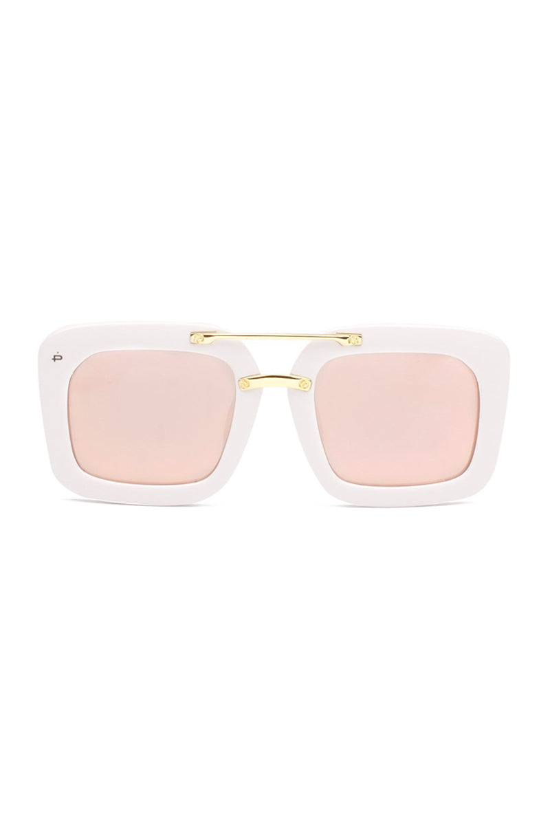 The Karl Oversized Square Polarized Sunglasses - White