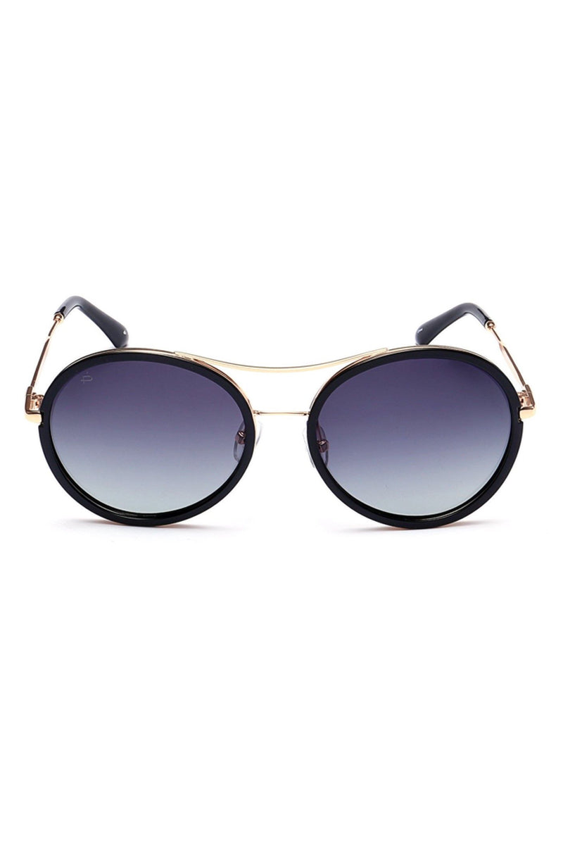The Mogul Unisex Round Aviator Sunglasses - Black