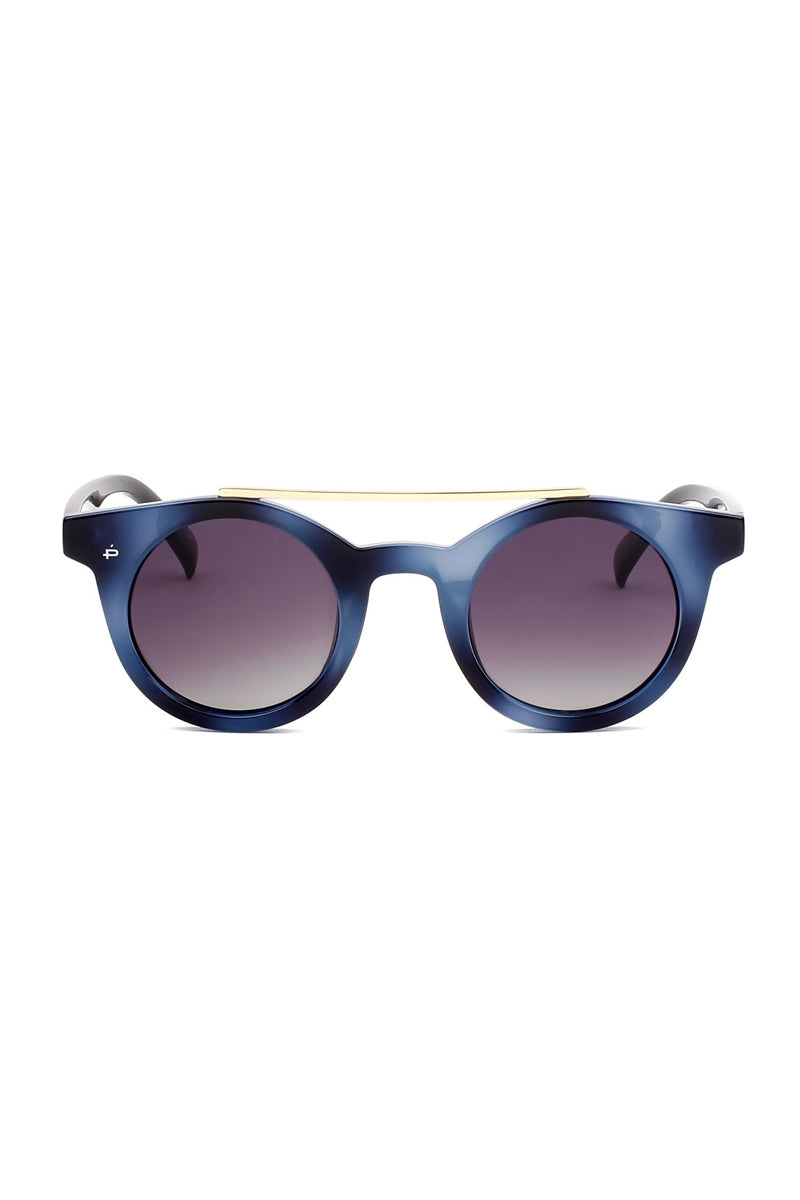 The Reagan Unisex Round Aviator Sunglasses - Blue/Black