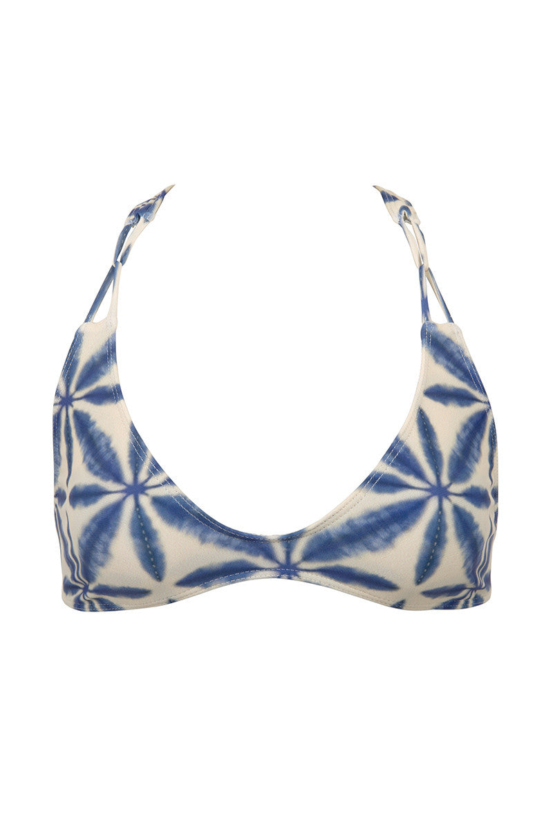 Loni Sporty T Back Bikini Top - Ocean Blue Batik Print