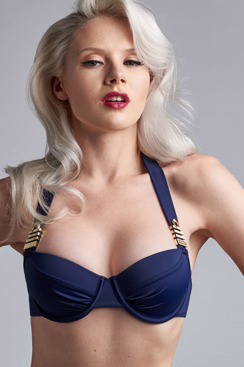 7b090f46e3 ... MARLIES DEKKERS Padded Push Up Bikini Top - Royal Navy - undefined  undefined