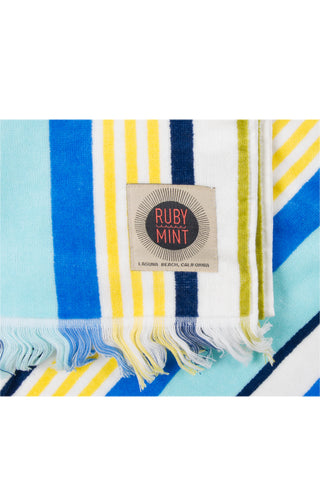 RUBY MINT Kensington Towel Accessories | Blue/Yellow Stripe|