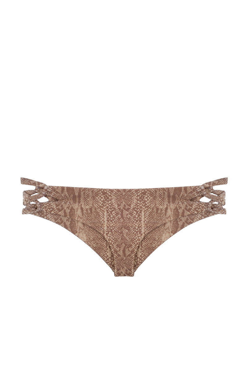 Napili Lace Up Sides Bikini Bottom - Snake Skin Print
