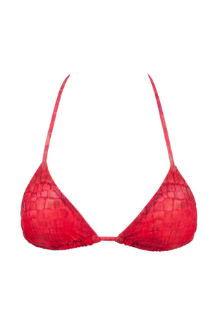 MIA MARCELLE Triangle Top Bikini Top | Red Snake|
