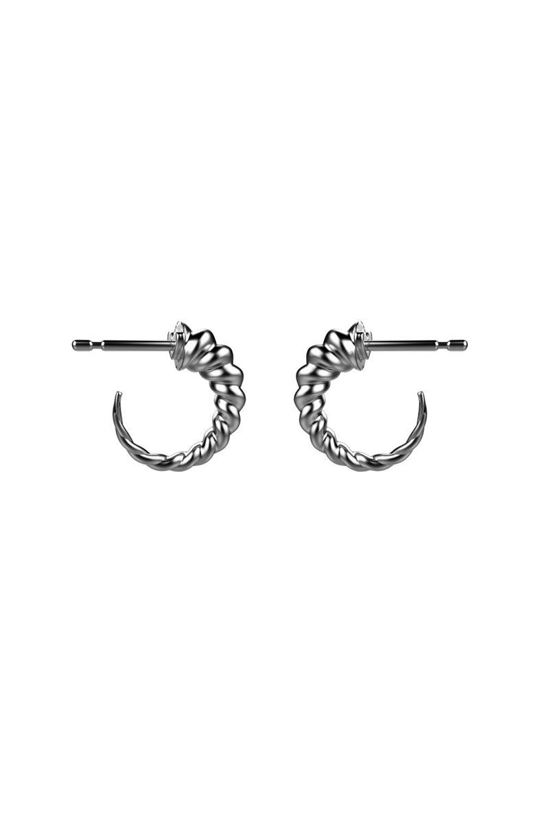 Unicorn Horn Huggies Earrings - Silver