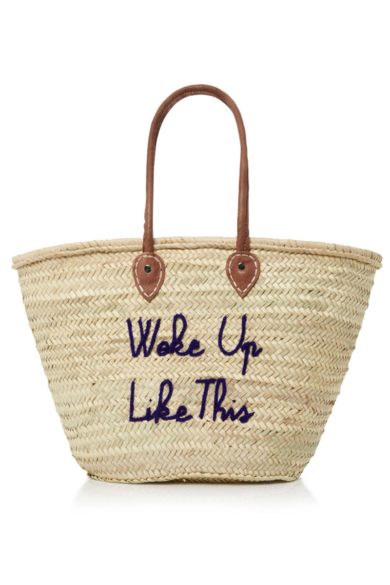 Long Handle Large Straw Tote - Woke Up Like This