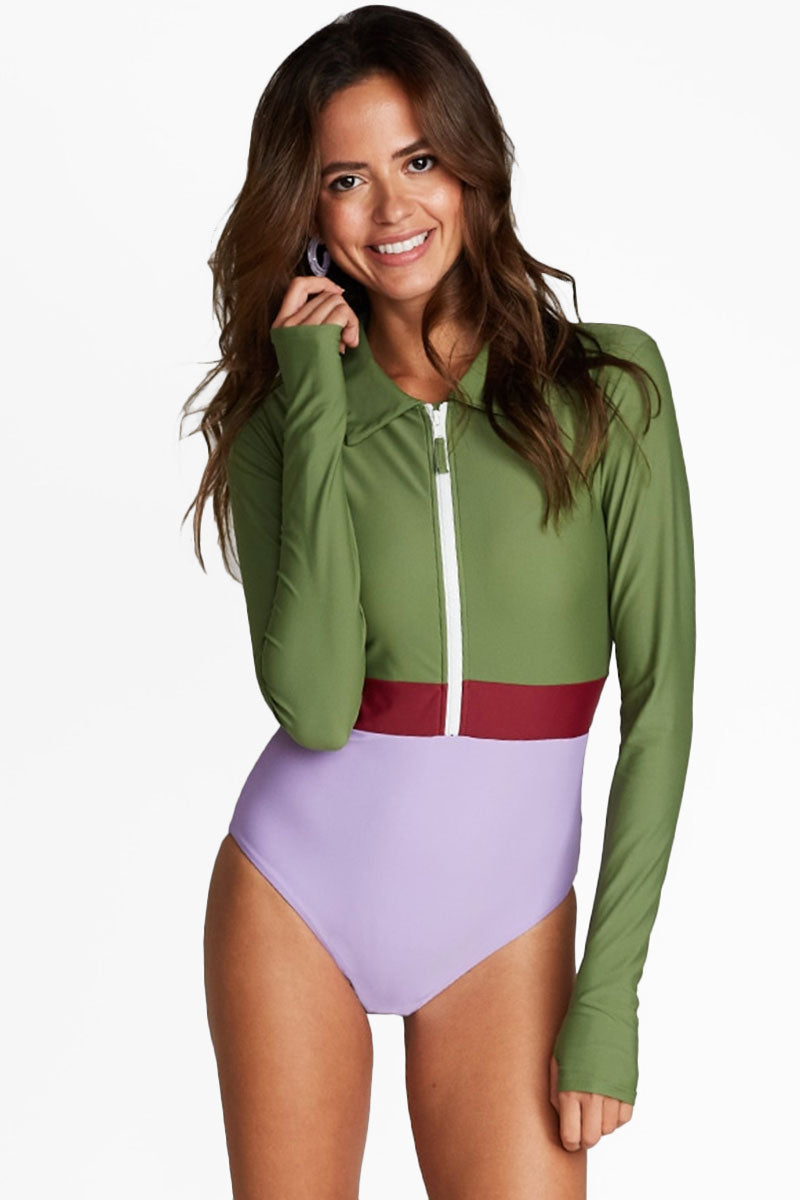 Margherita Color Block Collar Rashguard Bodysuit - Vineyard Green/Maroon Red/Lilac Purple