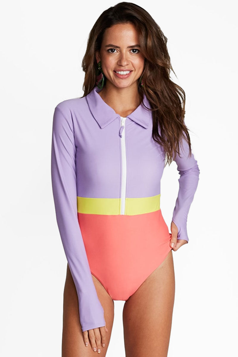 Margherita Color Block Collared Rashguard Bodysuit - Lilac Purple/Lemon Yellow/Coral Pink