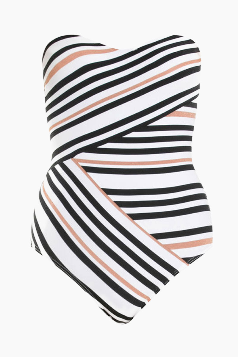Bandeau Wrap Style One Piece Swimsuit - Black & White Stripe Print