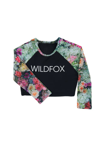 WILDFOX Original Fox Crop Rashguard Bikini Top | Multi|