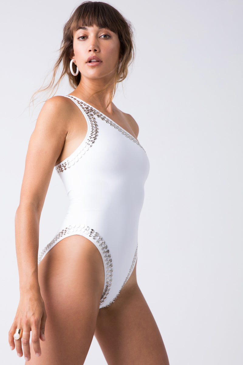 15fac7005b257 NORMA KAMALI Stud One Shoulder Mio One Piece Swimsuit - White - undefined  undefined ...