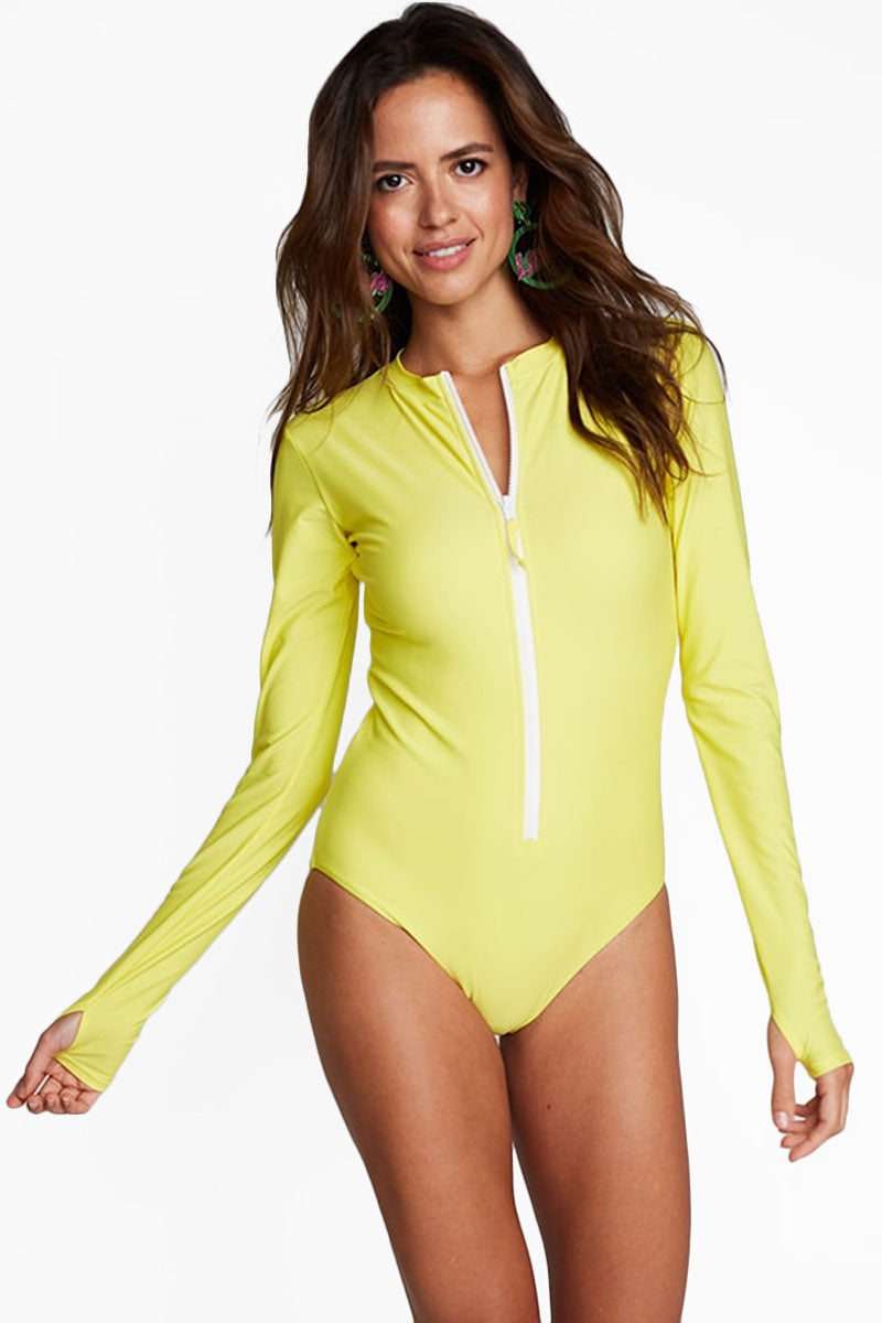 Lucia Zip Up Rashguard Bodysuit - Aurora Yellow