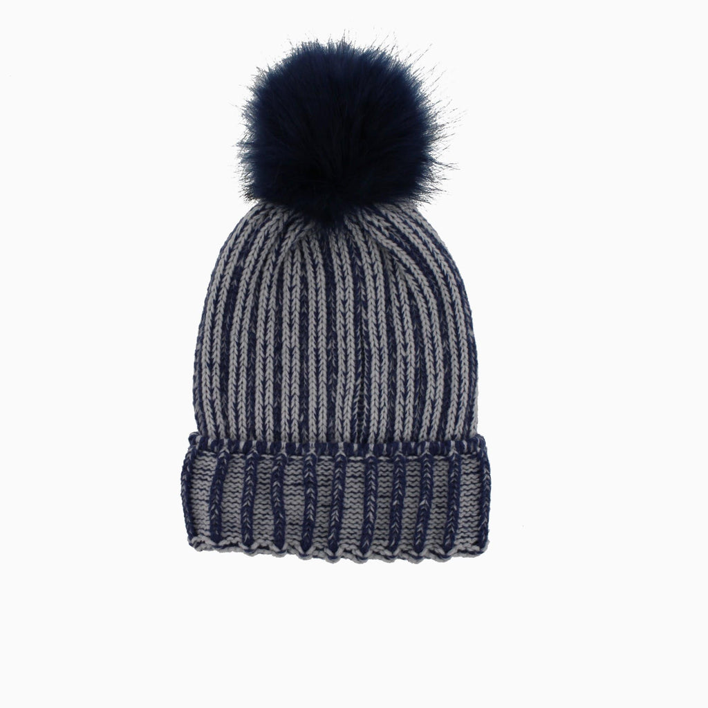 Women's Ribbed Pom Toque Blue Grey Pink