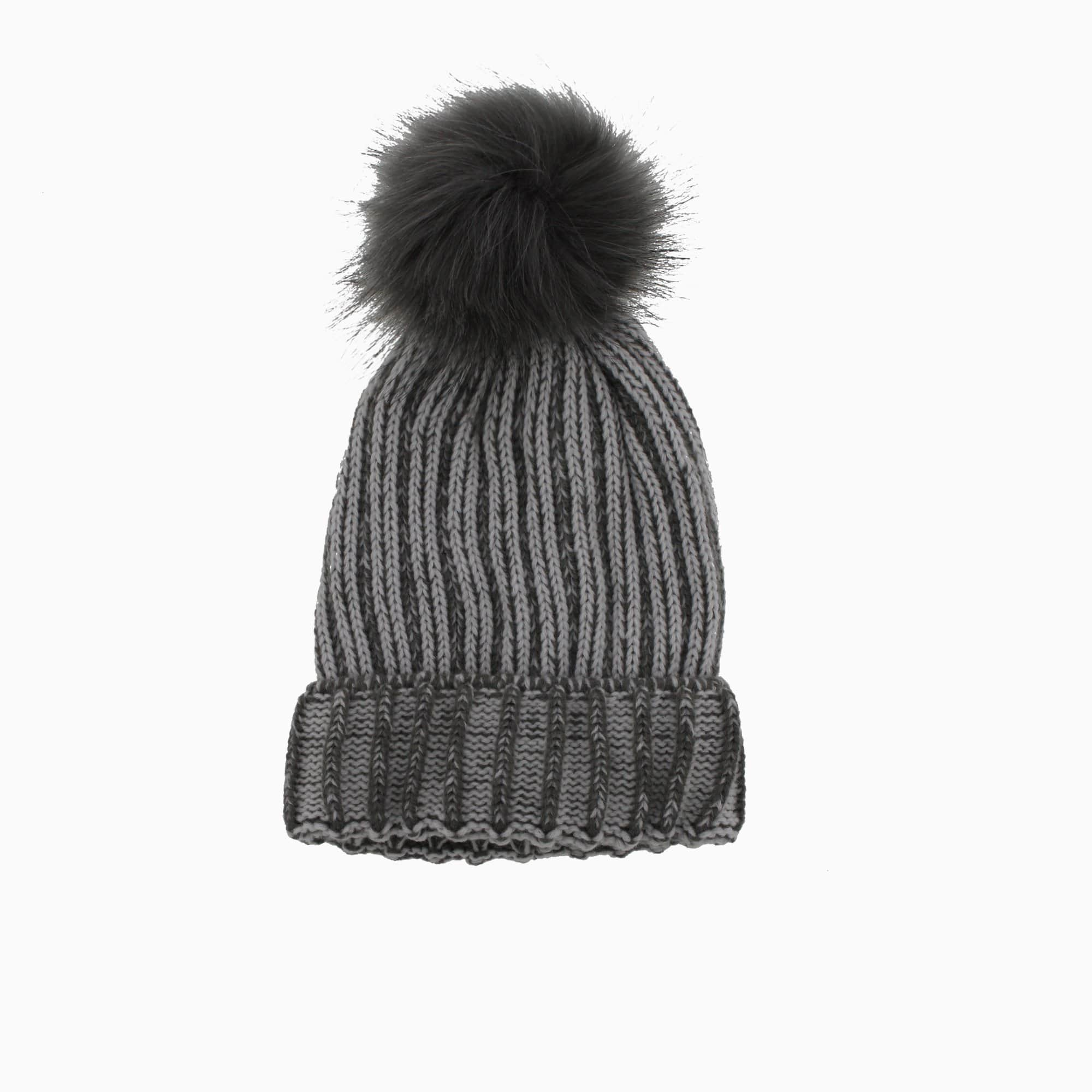 Women's Ribbed Pom Toque Blue Pink Grey