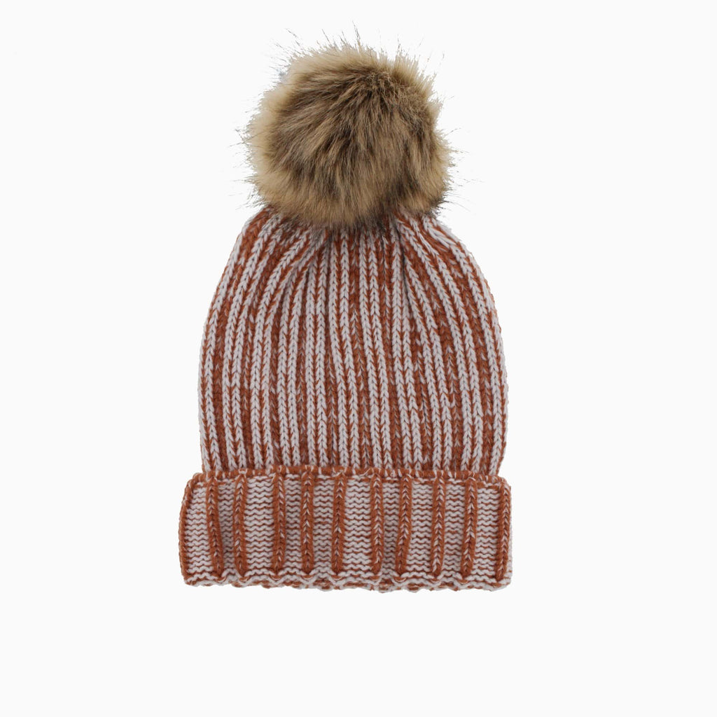 Women's Ribbed Pom Toque Pink Grey Blue