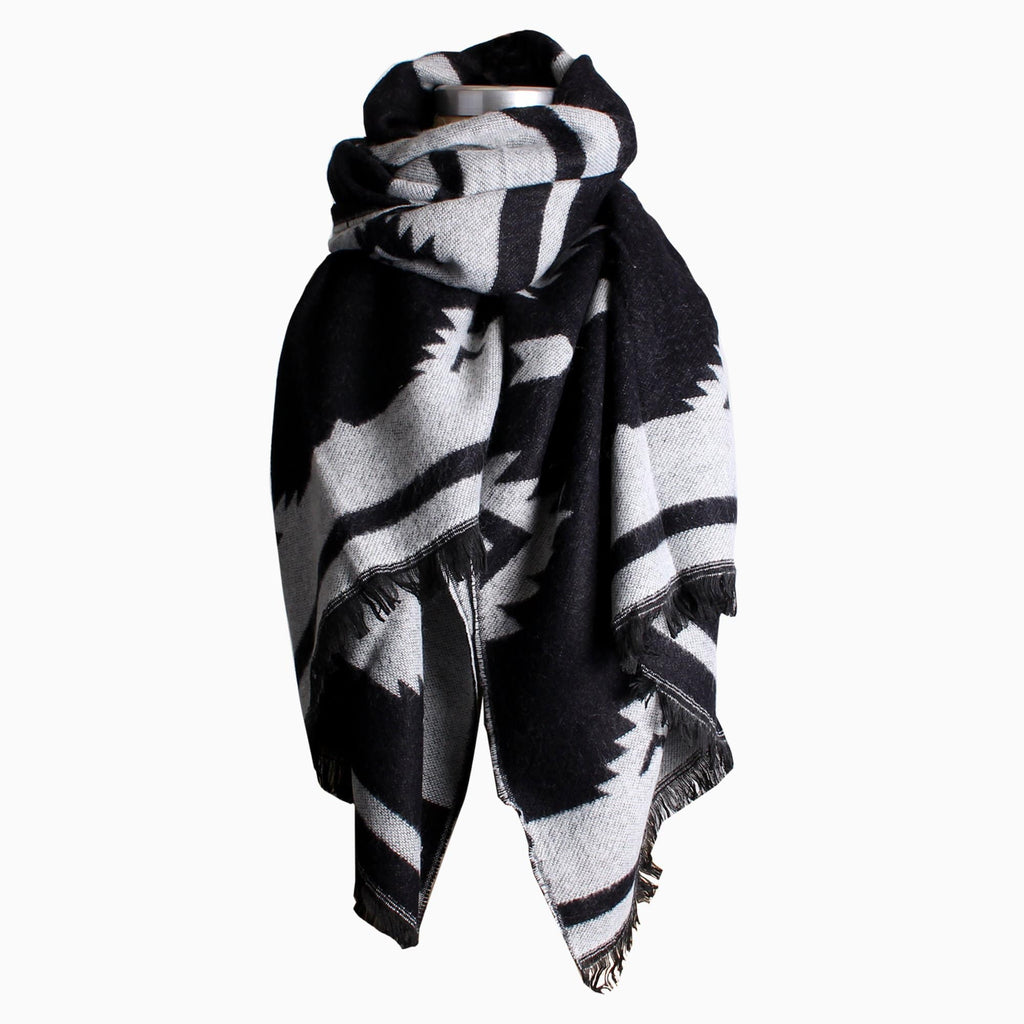 Women's Wide Jacquard Scarf Black and White Camo Multi Grey and White