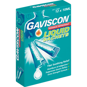 Gaviscon Advance Peppermint Liquid Sachets 12 x 10 ml