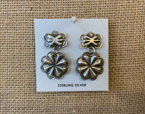 Silver Floral Concho Earrings