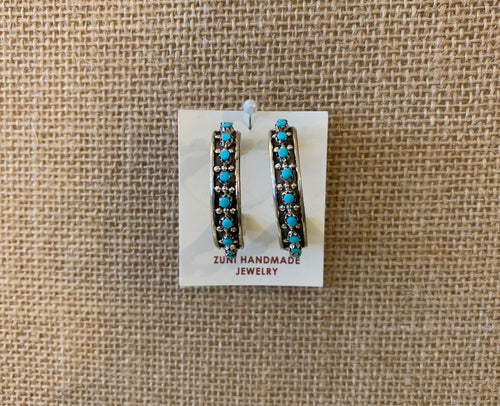 Zuni Sliver and Turquiose Hoop Earrings