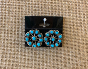 Turquoise Cluster Clip-On Earrings