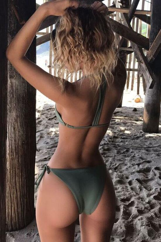 Two Piece Olive Strappy Triangle Brazilian Bikini Set Swimsuit SB19