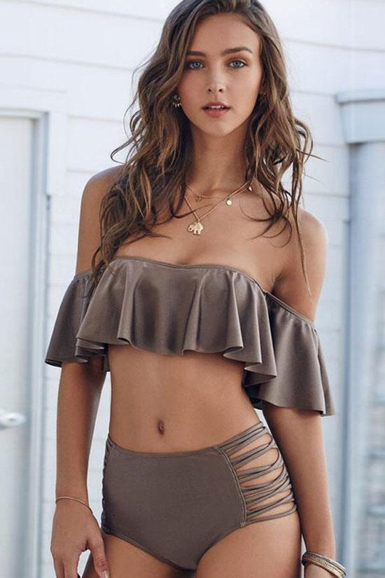 Elegant Ruffle High Waisted Two Piece Off Shoulder Bandeau Bikini Swimsuit SB08