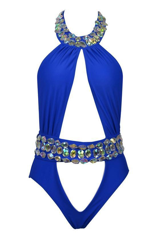 High Neckline Monokini One Piece Rhinestone Cutout Swimsuit SK053