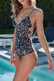 Black Tiny Floral One Piece Swimsuit SO056