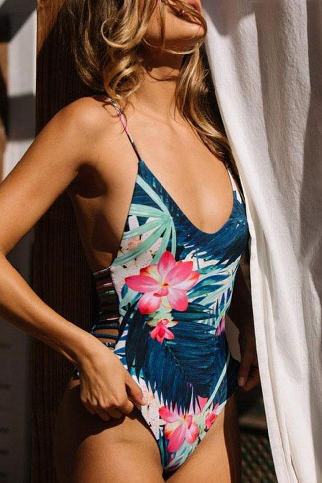 One Piece Blue Floral Print Strappy Swimsuit SO350