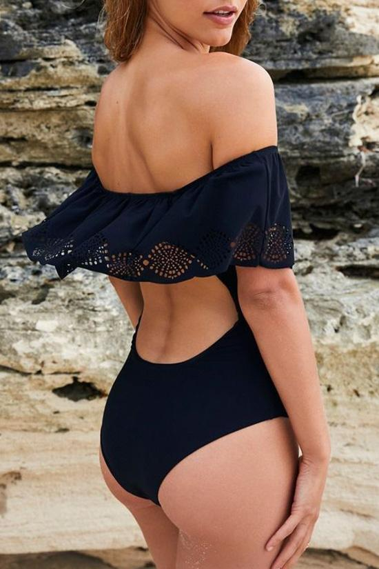 One Piece Black Ruffle Off Shoulder Swimsuit SO151