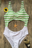 One Piece Cut Out Stripe Swimsuit SO224