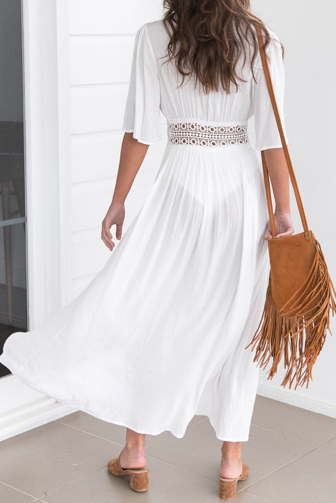 White Crochet Trim Maxi Cover Up BW101