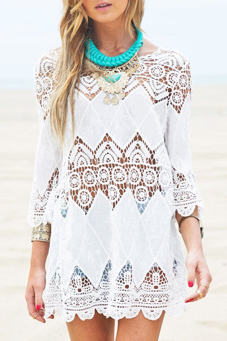 White Hollow Out Crochet Tunic Cover Up BW103