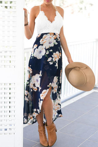 Dark Blue Floral Beach Dress BW083