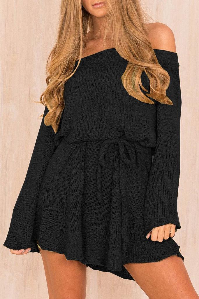 Off Shoulder Knit Dress BW082