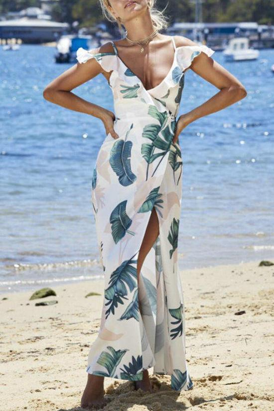 Floral Ruffle Cold Shoulder Beach Dress BW069