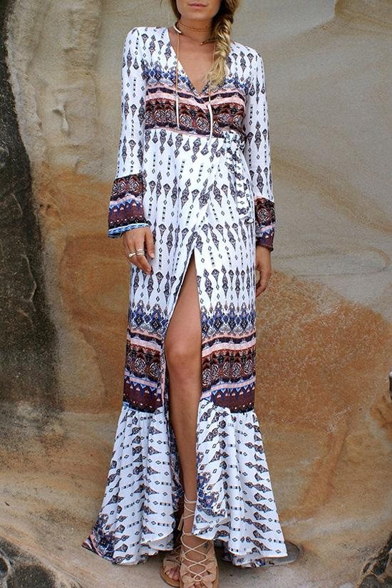 White Bohemian Printed Beach Dress BW080