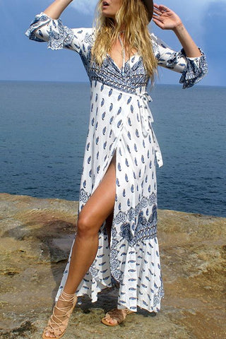 White Bohemian Printed Maxi Dress BW081