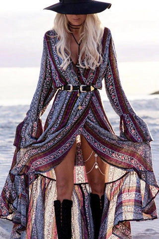 Purple Bohemian Printed Maxi Dress BW079