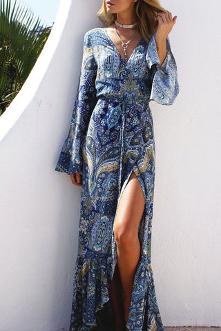 Blue Bohemian Printed Maxi Dress BW078